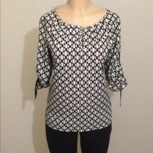 Michael Kors black/white career blouse Sz M
